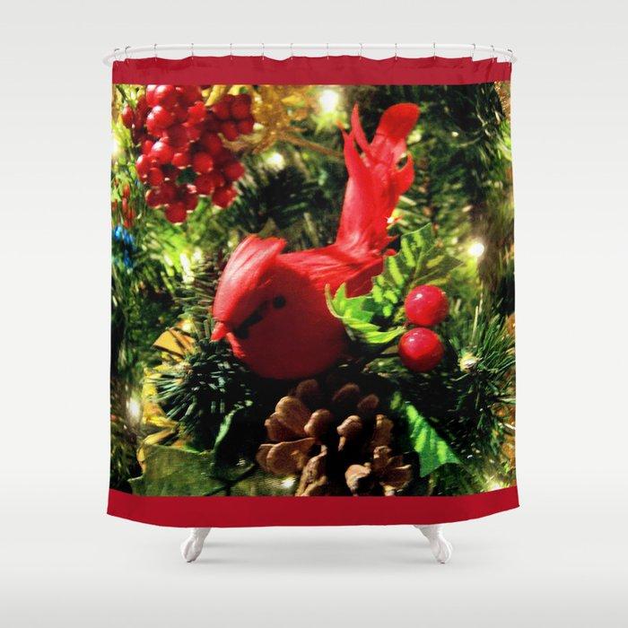 Red Bird Christmas DPGF121225b Shower Curtain