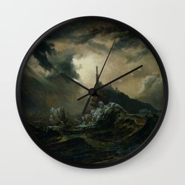 Carl Blechen - Stormy Sea with Lighthouse - German Romanticism - Oil Painting Wall Clock