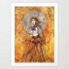 Sunset Belly Dancer Art Print