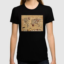 world map animals vintage T-shirt