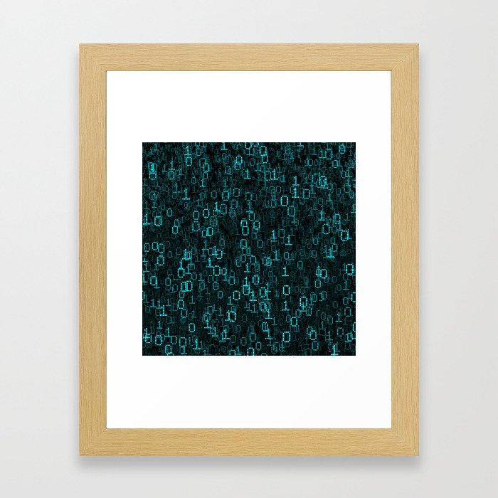 Binary Data Cloud Framed Art Print
