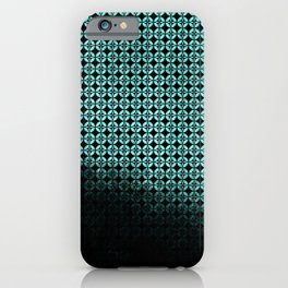Textured teal and black Shippo ombre - traditional Japanese pattern iPhone Case
