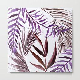 Purple Palm Leaves 1 Metal Print