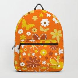 Butterfly Flowers And Butterflies In Orange Backpack