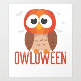 owl Halloween Owloween pumpkin head and bats Art Print