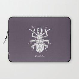 Stag Beetle White on Purple Background Laptop Sleeve