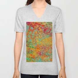 psychedelic fractal geometric triangle abstract pattern in orange yellow green blue red Unisex V-Neck