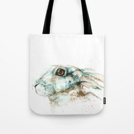 Scared blue hare Tote Bag