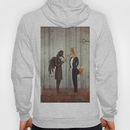 Raven and Fox in  a dark forest looking at the watch Hoody