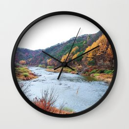 Scenic Fall Nature Lanscape with Stream and Hills Wall Clock
