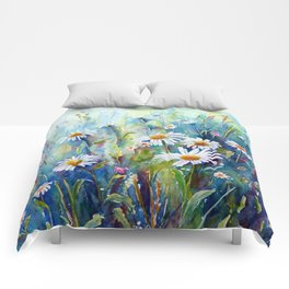 Watercolor Daisy Field Comforters
