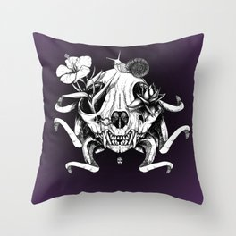 The Skull the Flowers and the Snail Throw Pillow