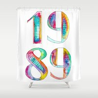 1989 Shower Curtains featuring 1989 by Christina Guo