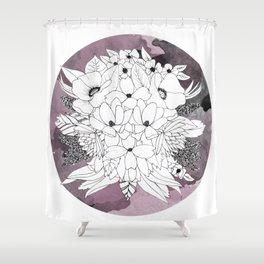 B&W Bouquet Shower Curtain