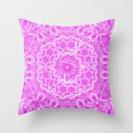 butterfly shapes on pink mandala Throw Pillow