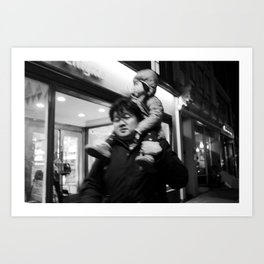 Father Carrying his Girl on his Nick, A Art Print