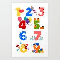 numbers Art Prints featuring numbers by Alapapaju
