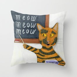 Smarty Cat Throw Pillow