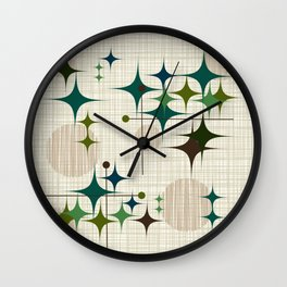 Mid Century Modern Starbursts and Globes 1a Wall Clock