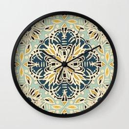 Protea Pattern in Deep Teal, Cream, Sage Green & Yellow Ochre  Wall Clock