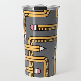 Pencil Maze Pattern pastel grey yellow Travel Mug