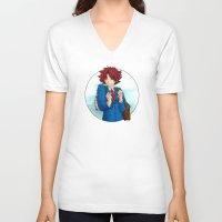 akira V-neck T-shirts featuring Ujigawa Akira by anywayimnikki