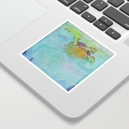 Painterly Sea Turtle Swimming in Turquoise water Sticker