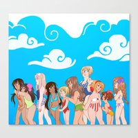 hetalia Canvas Prints featuring Hetalia Girls by kitkatkatee