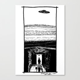 UFO Hovers High Above Underground Mining Tunnels - BNW Canvas Print