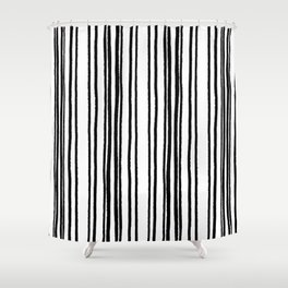 Lines and Curves Black/White Palette Shower Curtain