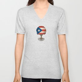 Vintage Tree of Life with Flag of Puerto Rico Unisex V-Neck