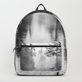 Forest Reflection Lake - Black and White  - Nature Photography Backpack