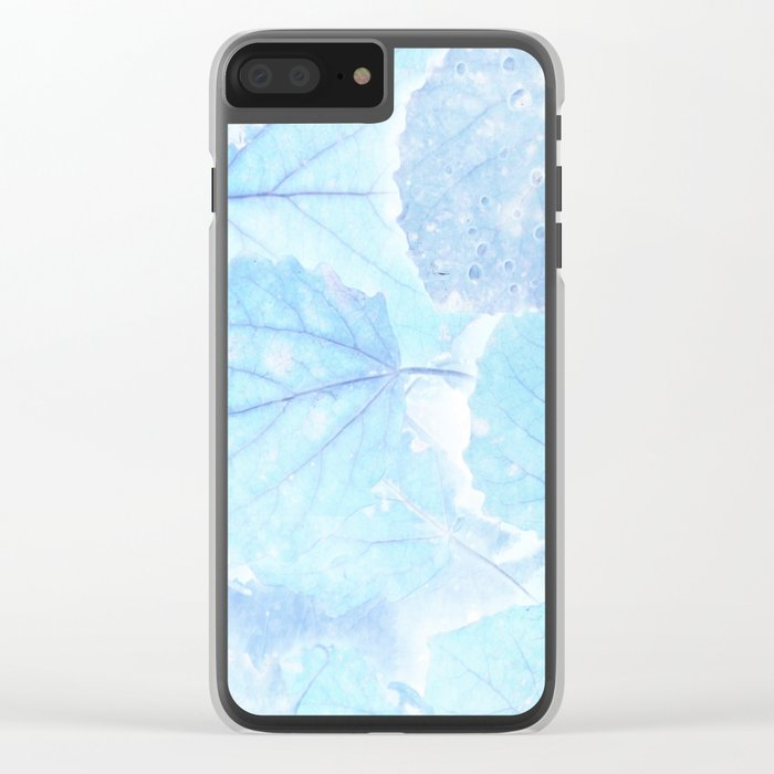 Blue autumn leaves Clear iPhone Case