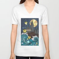 hogwarts V-neck T-shirts featuring Hogwarts by Lacey Simpson