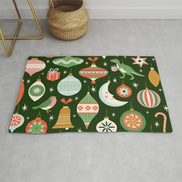 Merry Christmas and New Year card with various of Christmas toys and present in in retro mid century modern style Rug