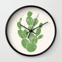 Linocut Cactus #1 Wall Clock