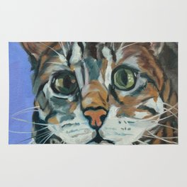 Green Eyed Cat Portrait Rug