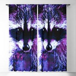 raccoon watercolor splatters blue purple Blackout Curtain