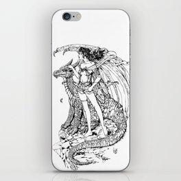 girl and dragon iPhone Skin