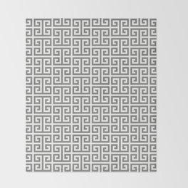 Gray and White Greek Key Pattern Throw Blanket