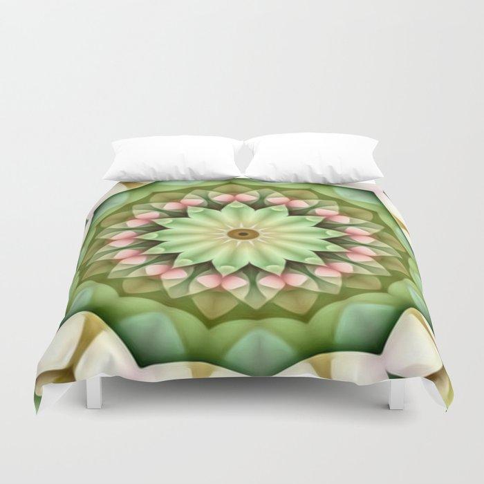 Daisy Pink Green Kaleidoscope Duvet Cover