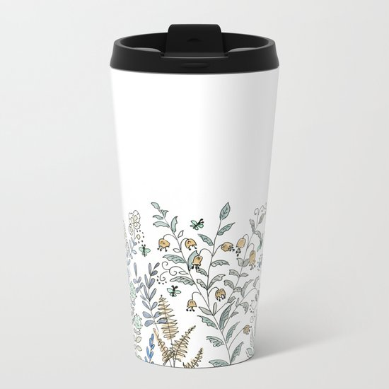 Watercolor pattern . The flowers of the field . 2 Metal Travel Mug