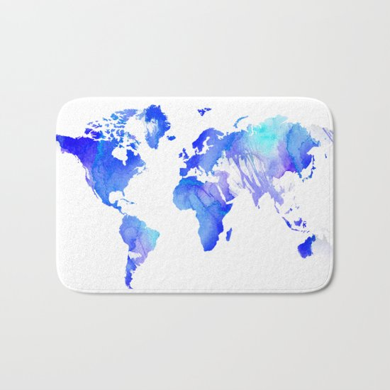 Watercolour World Bath Mat