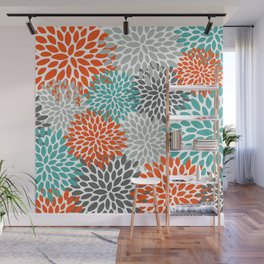 Floral Pattern, Abstract, Orange, Teal and Gray Wall Mural