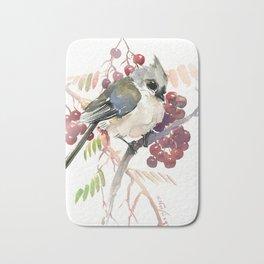 Cute Little Bird and Berries, Tufted Titmouse Bath Mat
