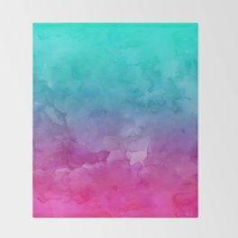 Modern bright summer turquoise pink watercolor ombre hand painted background Throw Blanket