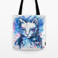 """space cat Tote Bags featuring """"Space cat"""" by PeeGeeArts"""