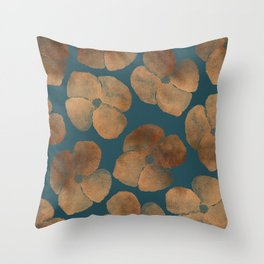 Abstract Metal Copper Flowers on Emerald Throw Pillow