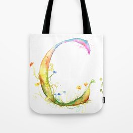 Letter C watercolor - Watercolor Monogram - Watercolor typography - Floral lettering Tote Bag