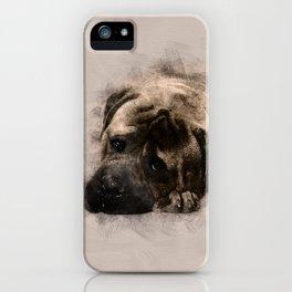 Bullmastiff Puppy Sketch iPhone Case